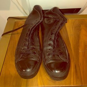 Men's Black Leather high top Converse